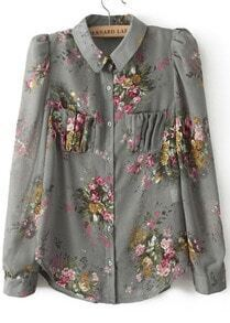Grey Lapel Long Sleeve Floral Pockets Chiffon Blouse