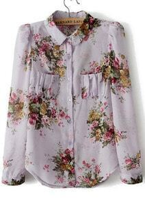 Purple Lapel Long Sleeve Floral Pockets Chiffon Blouse