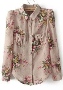 Beige Lapel Long Sleeve Floral Pockets Chiffon Blouse
