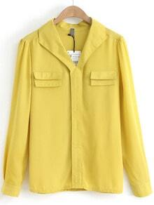 Yellow V Neck Long Sleeve Pockets Chiffon Blouse