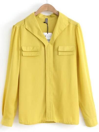 Yellow V Neck Long Sleeve Pockets Chiffon Blouse