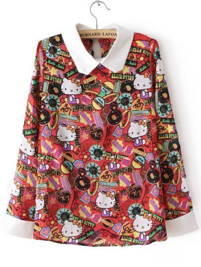Red Long Sleeve Cats Print Loose Blouse