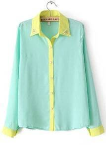 Green Bead Lapel Long Sleeve Contrast Trims Blouse