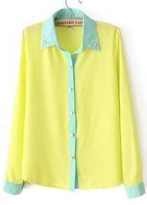 Yellow Bead Lapel Long Sleeve Contrast Trims Blouse