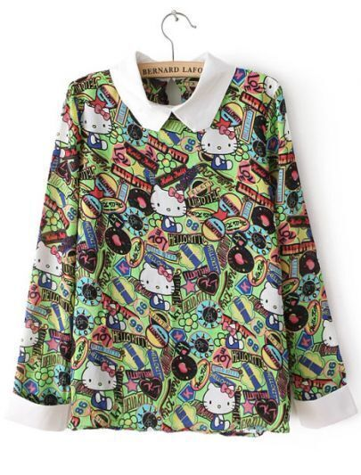 Green Long Sleeve Cats Print Loose Blouse