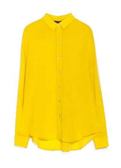 Yellow Lapel Long Sleeve Slim Chiffon Blouse