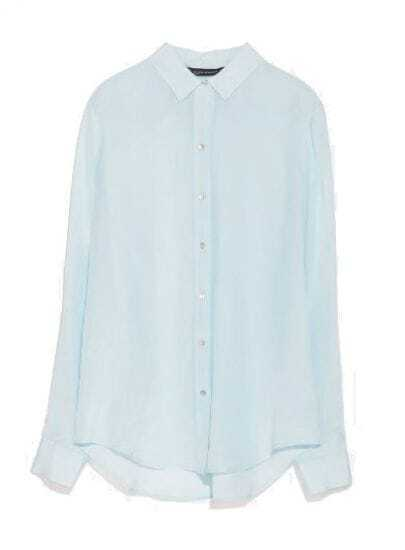 Blue Lapel Long Sleeve Slim Chiffon Blouse