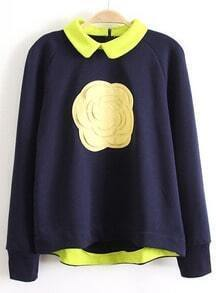 Navy Long Sleeve Flower Embellished Sweatshirt