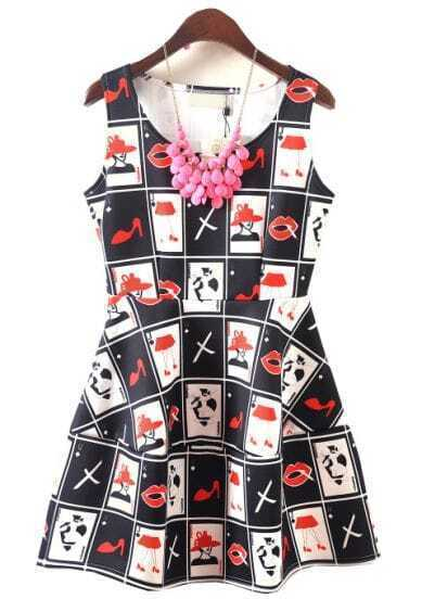 Black White Plaid Lip Shoes Print Flare Dress