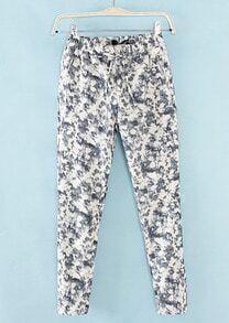 White Blue Elastic Waist Floral Pant