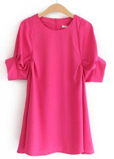 Rose Red Round Neck Puff Sleeve Loose Dress