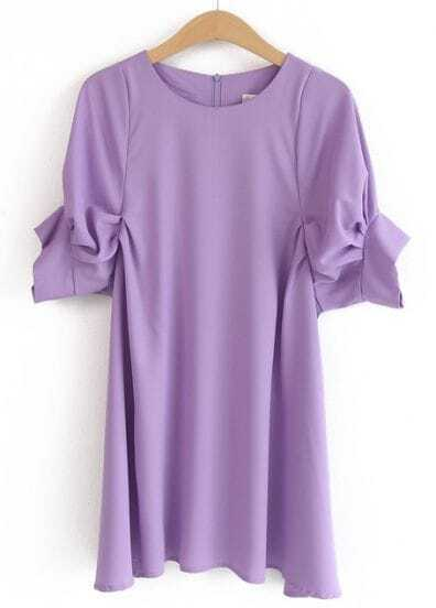 Purple Round Neck Puff Sleeve Loose Dress