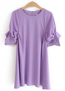 Purple Round Neck Puff Sleeve Loose Dress