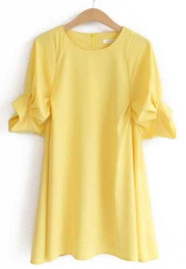 Yellow Round Neck Puff Sleeve Loose Dress