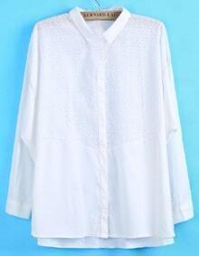White Lapel Floral Crochet Loose Blouse