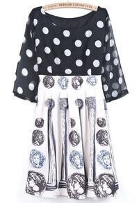 Black White Polka Dot Coins Print Chiffon Dress