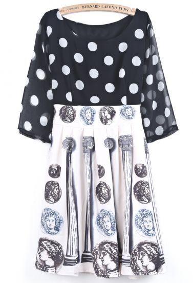 Black White Polka Dot Coins Print Chiffon Dress
