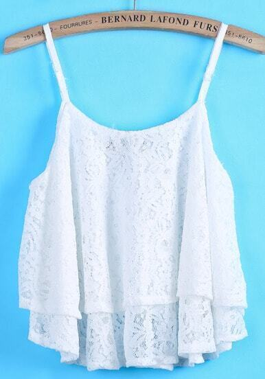 White Spaghetti Strap Lace Cami Top