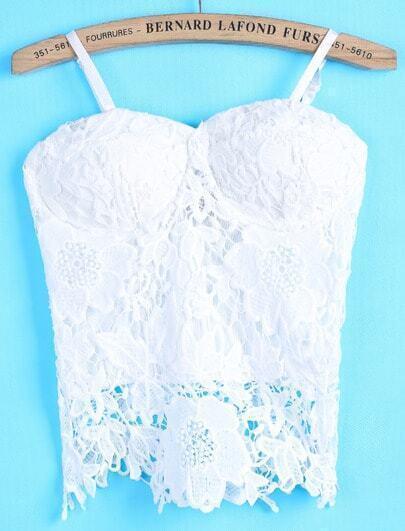 White Spaghetti Strap Hollow Floral vest