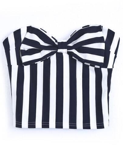 Navy White Vertical Stripe Strapless Bow Vest