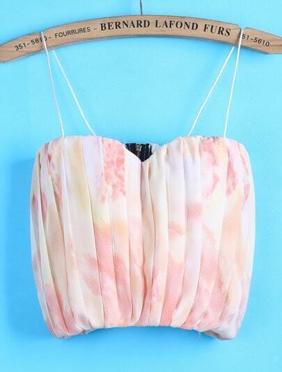 Pink Spaghetti Strap Pleated Chiffon Vest