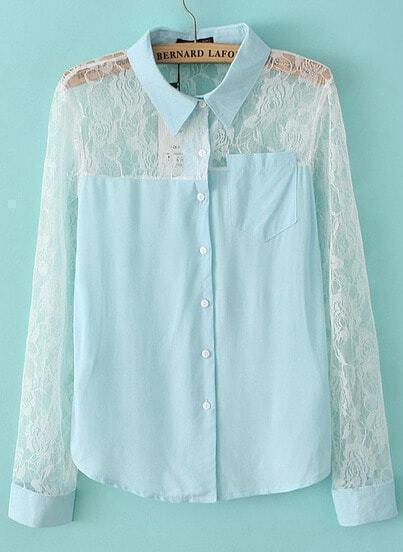 Blue Contrast Lace Long Sleeve Denim Blouse