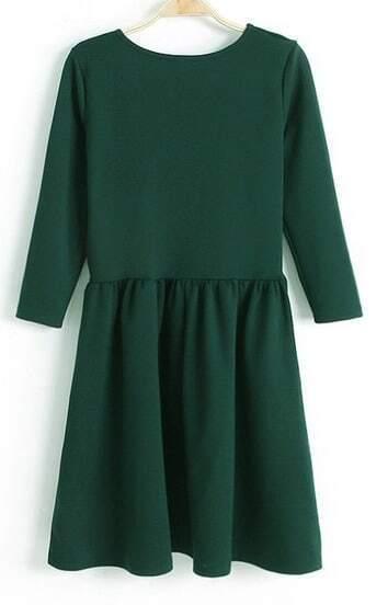 Robe plissée à 3/4 manche -Vert