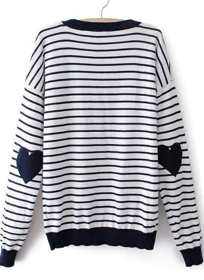 Blue White Striped Heart Elbow Patch Sweater