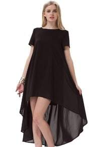 Black Short Sleeve Split High Low Dress