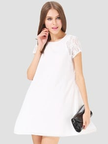 White Contrast Lace Short Sleeve Split Chiffon Dress