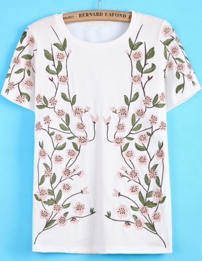 White Short Sleeve Peach Blossom Embroidered T-Shirt