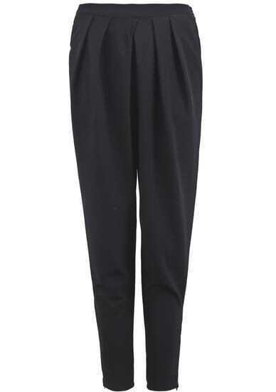 Black Elastic Simple Loose Pant