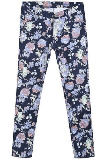Blue Pockets Floral Casual Pant