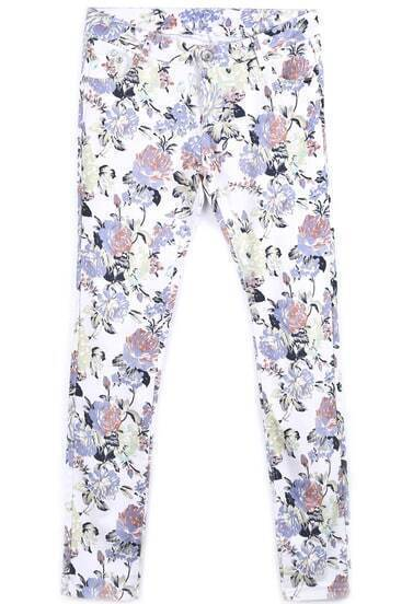 White Pockets Floral Casual Pant