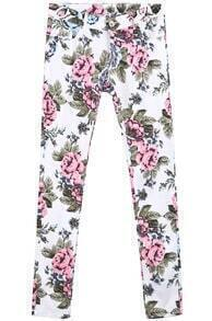White Floral Casual Pockets Pant