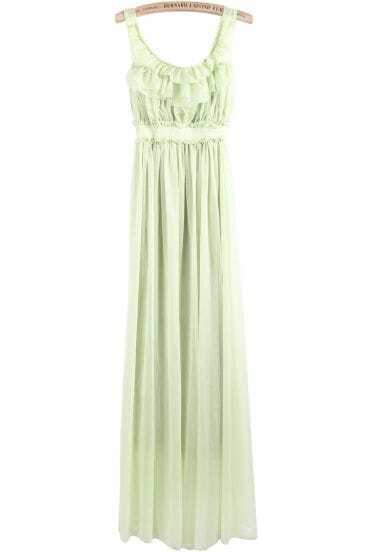 Green Spaghetti Strap Ruffle Pleated Long Dress