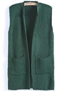 Green Sleeveless Sides Pockets Cardigan