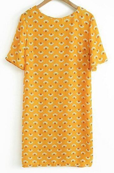 Yellow Short Sleeve Dandelion Print Dress