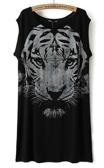 Black Sleeveless Tiger Print Straight Dress