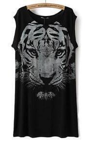 Black Sleeveless Tiger Print Straight Dress
