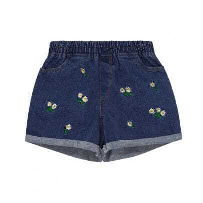 Navy Flower Embroidery Denim Shorts