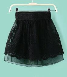 Black Floral Embroidery Organza Skirt