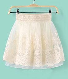 Beige Floral Embroidery Organza Skirt
