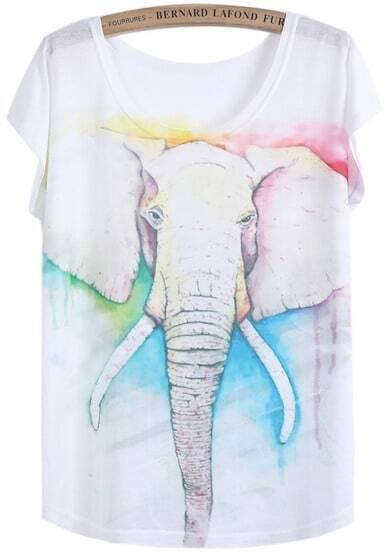 White Short Sleeve Elephant Print T-Shirt
