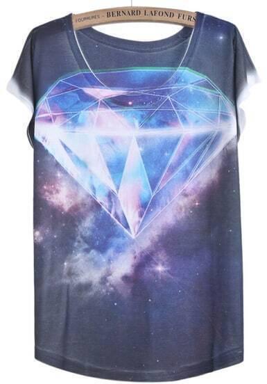 Purple White Short Sleeve Diamond Print T-Shirt