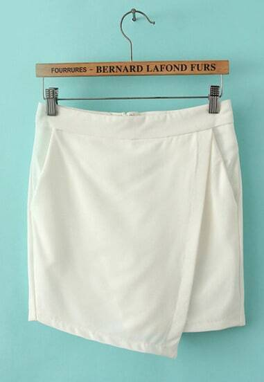 White Asymmetrical Pockets Shorts