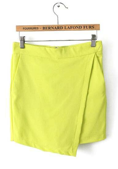 Yellow Asymmetrical Pockets Shorts