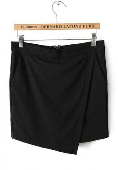 Black Asymmetrical Pockets Shorts
