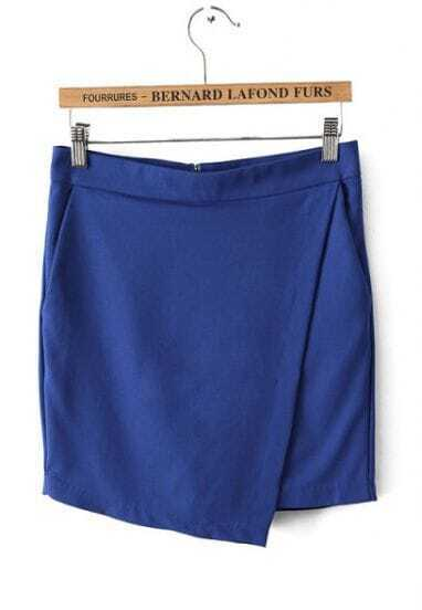 Blue Asymmetrical Pockets Shorts