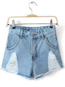 Blue Ripped Pockets Fringe Denim Shorts